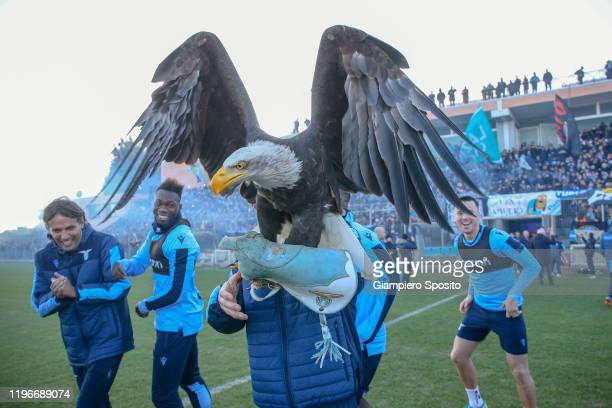 Coach Simone Inzaghi of SS Lazio arrivce to celebrate the Italian Supercup win with fans on December 30 2019 in Rome Italy