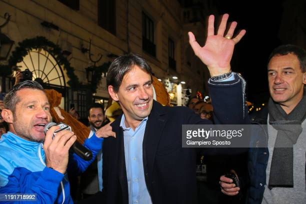 Coach Simone Inzaghi waves supporters as he arrives to attend the SS Lazio Store Opening ceremony on December 03 2019 in Rome Italy