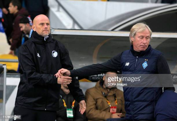 Coach Stale Solbakken and coach Oleksiy Mykhaylychenko handshake during the UEFA Europa League Group B soccer match between FC Copenhagen and FC...