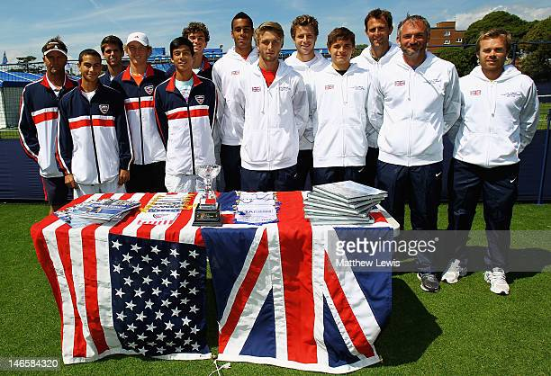 Coach Stanford Boster, Noah Rubin, Spencer Papa, Mitchell Krueger, Mackenzie McDonald and Alexios Halebian of the United States of America pose for a...