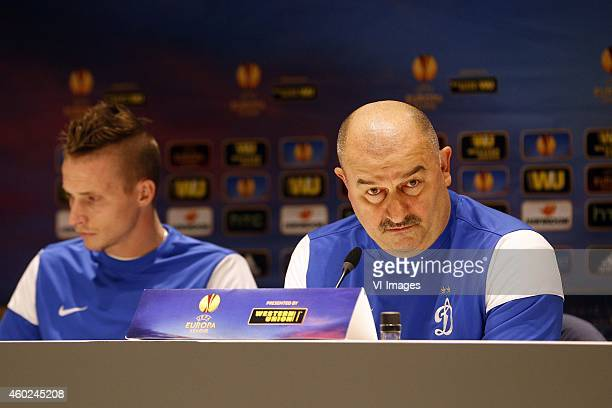 Coach Stanislav Cherchesov of Dinamo Moscow Alexander Buttner of Dinamo Moscow during a training session of Dinamo Moscow prior to the Europa League...
