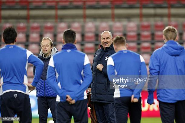 Coach Stanislav Cherchesov of Dinamo Moscow during a training session of Dinamo Moscow prior to the Europa League match between PSV Eindhoven and...