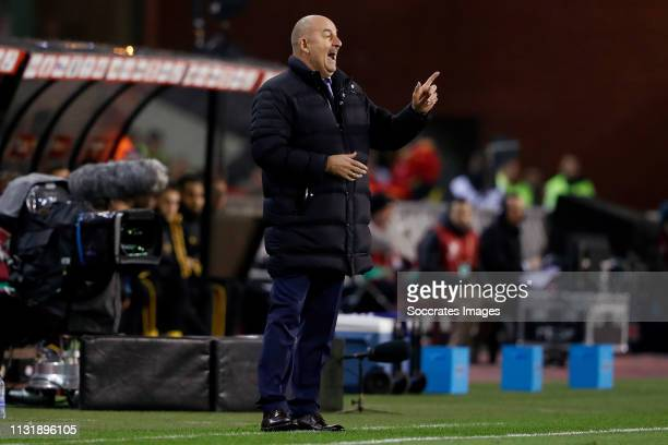 coach Stanislav Cherchesov of Russia during the EURO Qualifier match between Belgium v Russia at the Koning Boudewijn Stadium on March 21 2019 in...