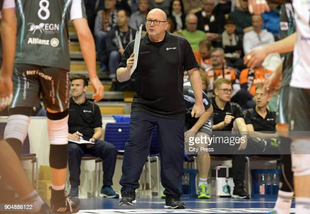 coach Stefan Falter of SWD Dueren during the game between the Berlin Recycling Volleys and the SWD powervolleys Dueren on january 14 2018 in Berlin...