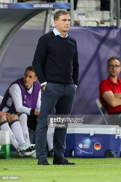 Coach Stefan Kuntz of Germany looks on during the UEFA European Under21 Championship Group C match between Germany and Denmark at Krakow Stadium on...