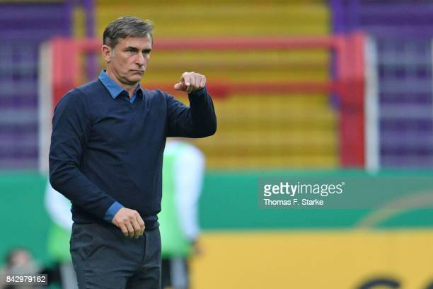 Coach Stefan Kuntz of Germany reacts during the UEFA Euro 2019 Qualifier match between Germany U21 and Kosovo U21 at Osnatel Arena on September 5...
