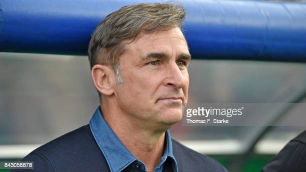 Coach Stefan Kuntz of Germany smiles piror to the UEFA Euro 2019 Qualifier match between Germany U21 and Kosovo U21 at Osnatel Arena on September 5...