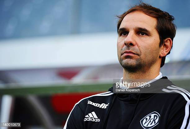 Coach Stefan Ruthenbeck of Aalen looks on prior to the second Bundesliga match between VfR Aalen and 1 FC Koeln at ScholzArena on September 27 2013...