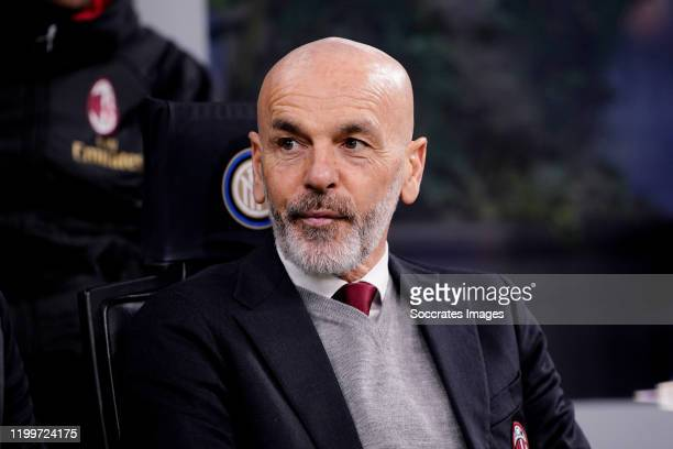 Coach Stefano Pioli of AC Milan during the Italian Serie A match between Internazionale v AC Milan at the San Siro on February 9 2020 in Milan Italy