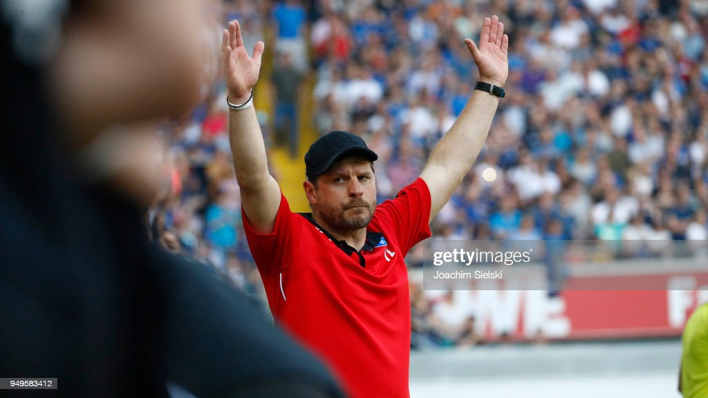 Coach Steffen Baumgart of Paderborn dcelebrate after the 3. Liga match between SC Paderborn 07 and SpVgg Unterhaching at Benteler Arena on April 21, 2018 in Paderborn, Germany.