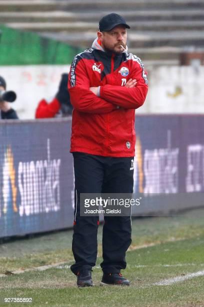Coach Steffen Baumgart of Paderborn during the 3 Liga match between SC Preussen Muenster and SC Paderborn 07 at Preussenstadion on March 3 2018 in...
