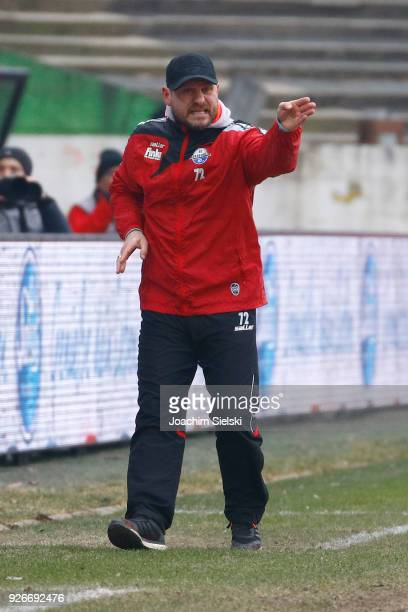 Coach Steffen Baumgart of Paderborn gestures during the 3 Liga match between SC Preussen Muenster and SC Paderborn 07 at Preussenstadion on March 3...