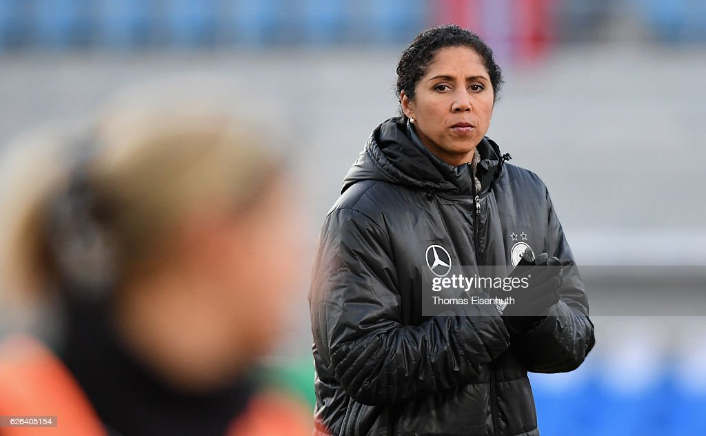 Coach Steffi Jones of Germany reacts prior the women's international friendly match between Germany and Norway at community4you ARENA on November 29, 2016 in Chemnitz, Germany.