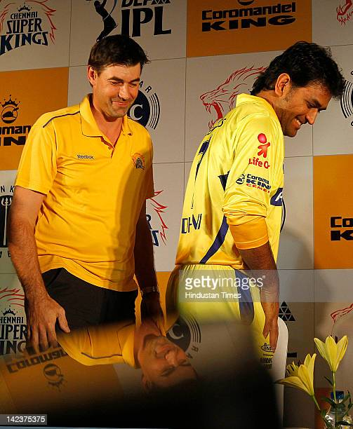Coach Stephen Fleming and Chennai Superking Captain M.S. Dhoni during the launch of the new range of team Merchandise on April 3, 2012 in Chennai,...
