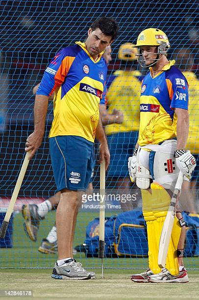 Coach Stephen Fleming of Chennai Super Kings talks with Francois du Plessis during the net practice session at Subrata Roy Sahahra Stadium on April...