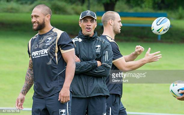 Coach Stephen Kearney looks on during the New Zealand Kiwis Captain's Run at Bishop Park on April 30 2015 in Brisbane Australia