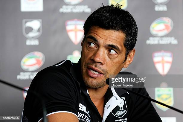 Coach Stephen Kearney of the Kiwis speaks to media during a joint New Zealand Kiwis and Australian Kangaroos Four Nations Final joint press...