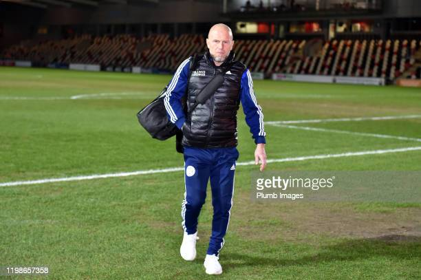 Coach Steve Beaglehole of Leicester City arrives before the Leasingcom quarter final match between Newport County and Leicester City U21 at Rodney...