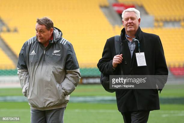 Coach Steve Hansen and NZR CEO Steve Tew walk and talk during the New Zealand All Blacks Captain's Run at Westpac Stadium on June 30 2017 in...