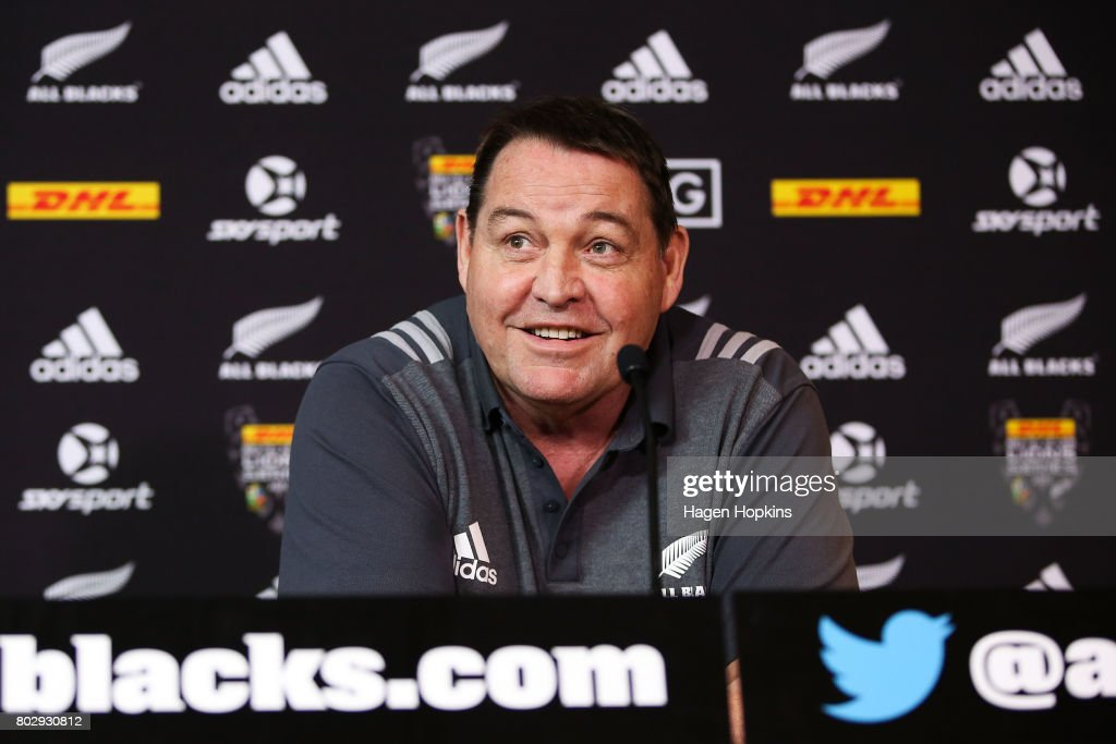 Coach Steve Hansen speaks to media during a New Zealand All Blacks press conference on June 29, 2017 in Wellington, New Zealand.
