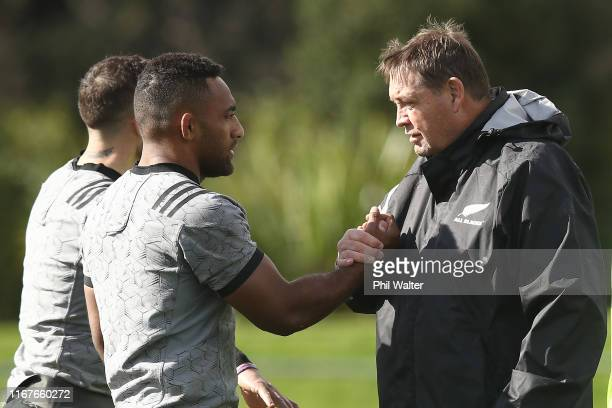 Coach Steve Hansen talks with Sevu Reece during a New Zealand All Blacks training session at Trusts Stadium on August 13, 2019 in Auckland, New...