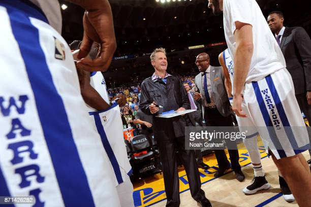Coach Steve Kerr of the Golden State Warriors interacts with his team on October 27 2017 at ORACLE Arena in Oakland California NOTE TO USER User...