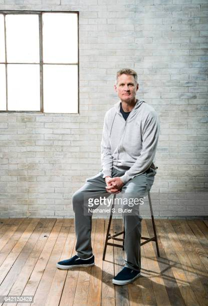 Coach Steve Kerr of the Golden State Warriors poses for a portrait during the 2017 AllStar Media Circuit at the Ritz Carlton in New Orleans LA NOTE...