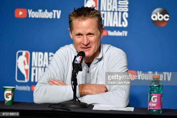 OH Coach Steve Kerr of the Golden State Warriors speaks with the press after the game against the Cleveland Cavaliers in Game Four of the 2018 NBA...