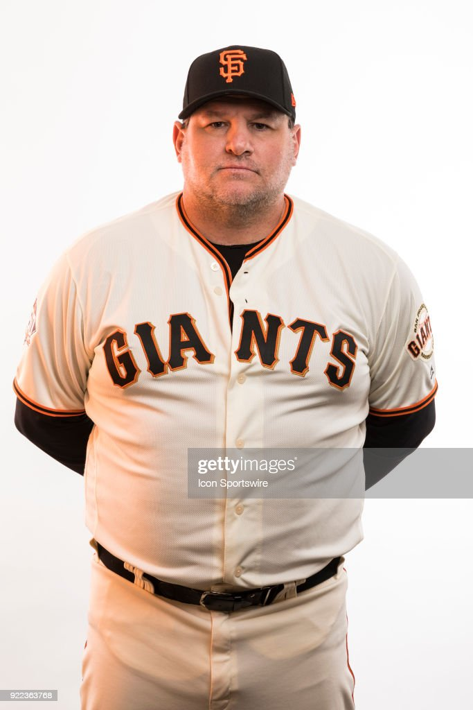 Coach Steve Kime (34) poses for a photo during the San Francisco Giants photo day on Tuesday, Feb. 20, 2018 at Scottsdale Stadium in Scottsdale, Ariz.