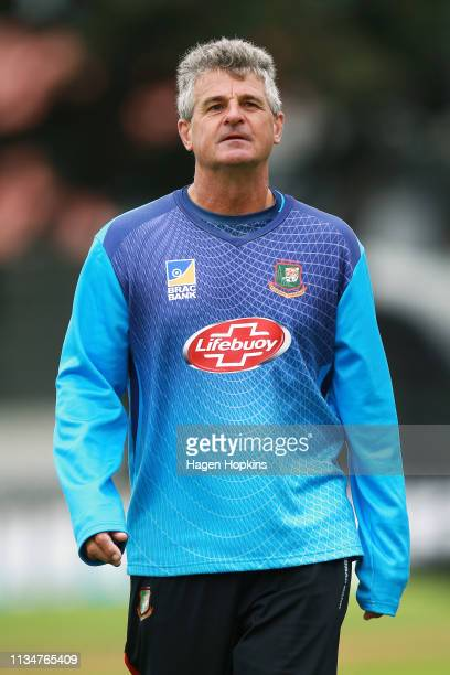 Coach Steve Rhodes of Bangladesh looks on during day three of the second test match in the series between New Zealand and Bangladesh at Basin Reserve...
