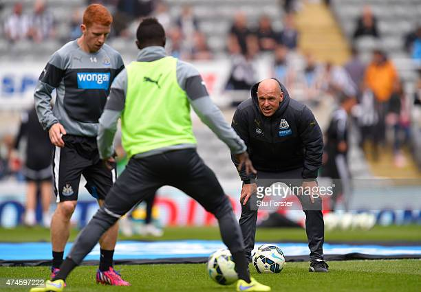 Coach Steve Stone is seen during the warm up prior to the Barclays Premier League match between Newcastle United and West Ham United at St James'...