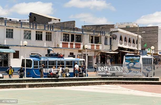 coach stop in puerto ayora, galapagos islands - puerto ayora stock pictures, royalty-free photos & images