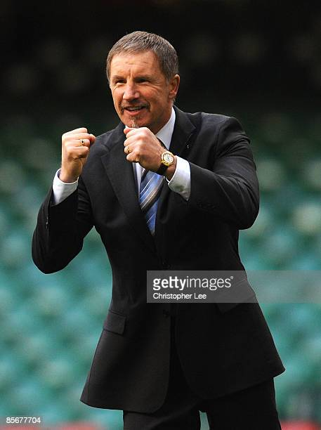 Coach Stuart Baxter of Finland celebrates their 20 victory at the close of the FIFA 2010 World Cup Qualifier Group 4 match between Wales and Finland...