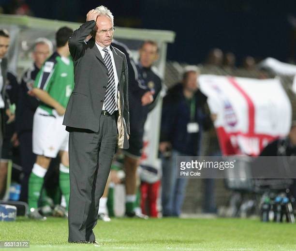 Coach Sven Goran Eriksson of England looks on during the World Cup Qualifier Group six match at Windsor Park on September 7, 2005 in Belfast,...