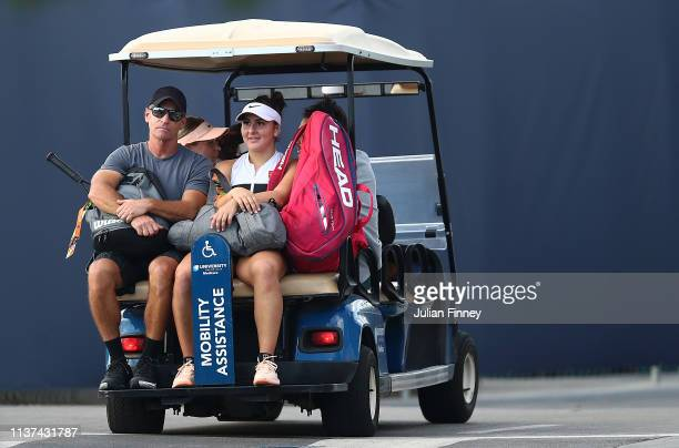 Coach Sylvain Bruneau with Bianca Andreescu of Canada after her three set win over IrinaCamelia Begu of Romania during day four of the Miami Open...
