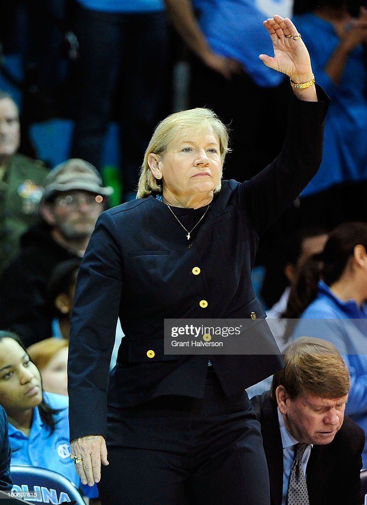 Coach Sylvia Hatchell of the North Carolina Tar Heels watches her team during play against the Duke Blue Devils at Carmichael Arena on February 3, 2013 in Chapel Hill, North Carolina.