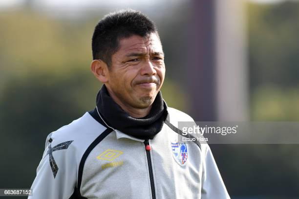 Coach Tadashi Nakamura of FC Tokyo U-23 looks on after the J.League J3 match between FC Tokyo U-23 and Kagoshima United at Yumenoshima Stadium on...