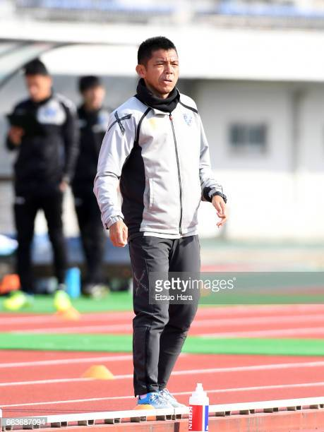 Coach Tadashi Nakamura of FC Tokyo U-23 looks on during the J.League J3 match between FC Tokyo U-23 and Kagoshima United at Yumenoshima Stadium on...