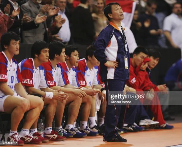 Coach Tae-Hoon Kim of Korea looks on during the Men's Handball World Championship Group F game between Korea and Croatia at the Porsche Arena on...