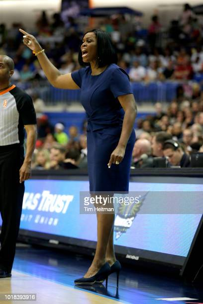 Coach Taj McWilliamsFranklin of the Dallas Wings makes a signal during the game against the Las Vegas Aces on August 17 2018 at College Park Center...