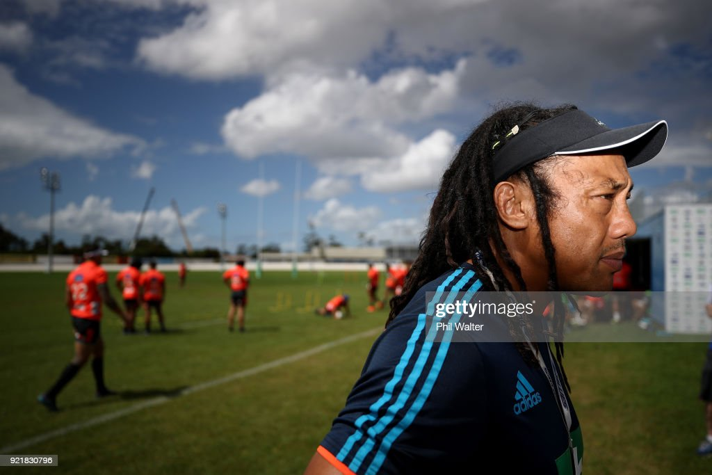 Coach Tana Umaga speaks to the media during the Blues Super Rugby training session at Alexandra Park on February 21, 2018 in Auckland, New Zealand.