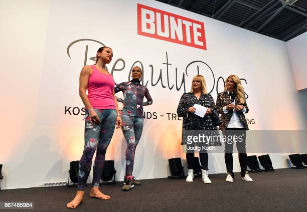 Coach Tanja Krodel actress Barbara Becker and hosts Patricia Riekel and Jennifer Knaeble attend the Bunte Beauty Days at Messe Muenchen on October 28...