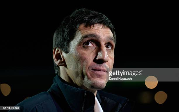 Coach Tayfun Korkut of Hannover looks on prior to the DFB Cup second round match between VfRAalen and Hannover 96 at ScholzArena on October 28 2014...