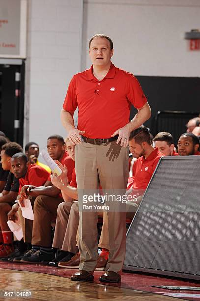 Coach Taylor Jenkins of the Atlanta Hawks looks on during the game against the Sacramento Kings during the 2016 NBA Las Vegas Summer League game on...