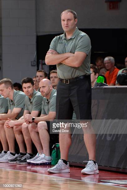 Coach Taylor Jenkins of the Milwaukee Bucks looks on during the game against the San Antonio Spurs during the 2018 Las Vegas Summer League on July 12...