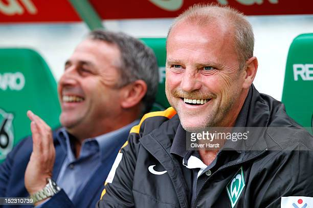 Coach Thomas Schaaf of Bremen looks on before the during the 1 Bundesliga match between Hannover 96 and Werder Bremen at AWD Arena on September 15...