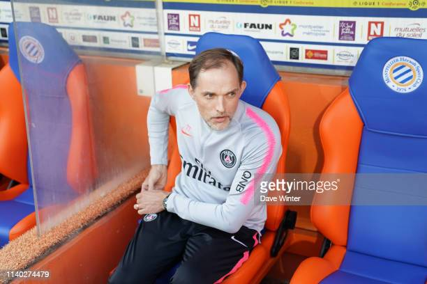 Coach Thomas Tuchel during the Ligue 1 match between Montpellier and Paris Saint Germain on April 30, 2019 in Montpellier, France.