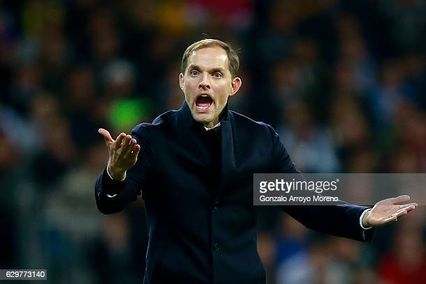 Coach Thomas Tuchel of Borussia Dortmund protests to the referee during the UEFA Champions League group F match between Real Madrid CF and Borussia...