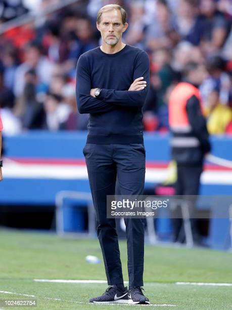 coach Thomas Tuchel of Paris Saint Germain during the French League 1 match between Paris Saint Germain v Angers at the Parc des Princes on August 25...