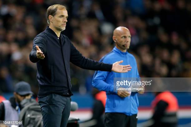 coach Thomas Tuchel of Paris Saint Germain during the French League 1 match between Paris Saint Germain v Olympique Lyon at the Parc des Princes on...